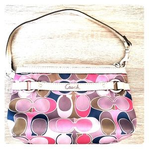 Coach Wristlet- gold, pink, green and blue